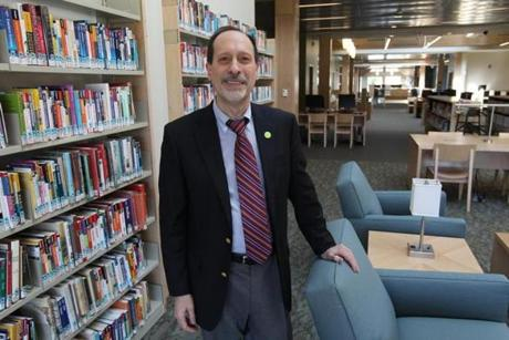 Westwood Library Director Tom Viti in the new library.