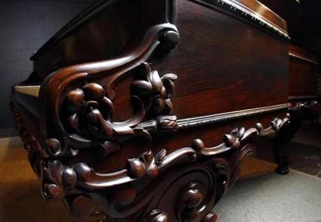 Details of the restored piano.