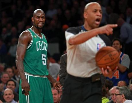Kevin Garnett and the Celtics fell into an 0-2 series hole after an 87-71 loss to the Knicks in New York.