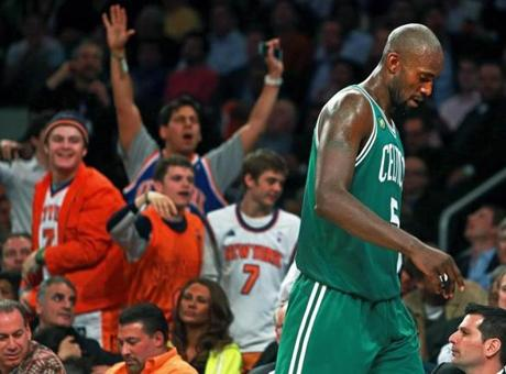 Garnett had to exit the game in the fourth quarter with five fouls.