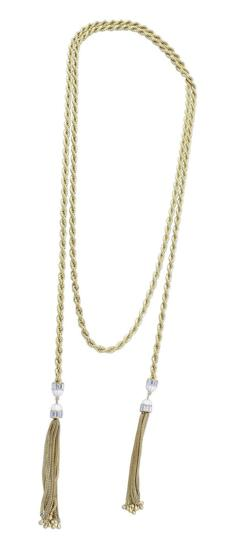 Long tassel-end rope necklace by Rachel Zoe, $325 at Neiman Marcus, Natick Mall, 508-620-5700, neimanmarcus.com