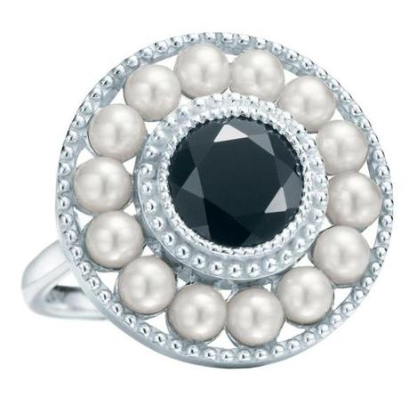 Ziegfeld Collection pearl ring with onyx, $475 at Tiffany & Co., Natick Mall, 508-647-5915, and other locations, tiffany.com