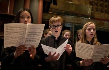 "The Trinity Church children choristers sang before the ""Evensong"" service as the church in Copley Square opened its doors for the first time since the bombings."
