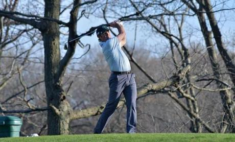 Shawn Fitzpatrick of Jamaica Plain swung at George Wright Golf Course in Hyde Park.