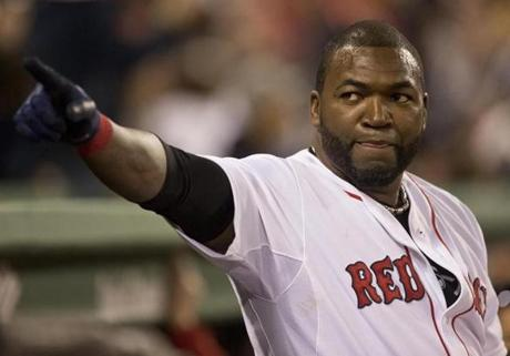 David Ortiz pointed to the fans as he stood on the top step of the dugout after scoring a run.