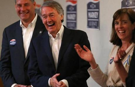 US Representative Edward J. Markey campaigned with Peter Koutoujian, sheriff of Middlesex County, and state Senator Katherine Clark at his side in Arlington.