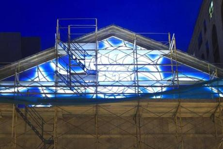 The Cathedral Church of St. Paul's new nautilus-shaped light sculpture was lit up and tested out on April 28.