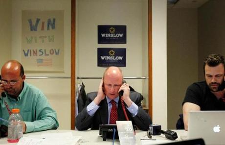 Daniel Winslow worked the phones on election day at his campaign office in Boston.