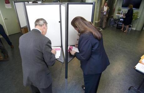 Lynch and his wife, Margaret, voted at the Foley Apartments in South Boston.