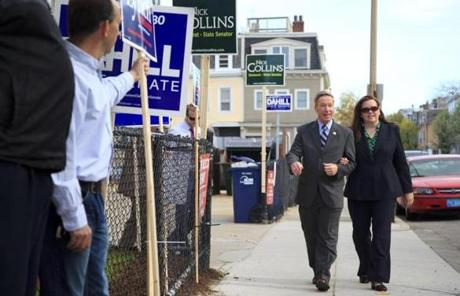 US Representative Stephen F. Lynch and his wife, Margaret Shaughnessy Lynch, headed to the polls in South Boston.