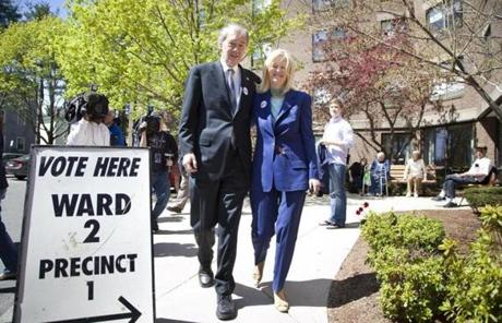 US Representative Edward Markey and his wife, Susan Blumenthal, arrived  at the Community Room in Malden to vote.