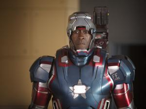 "James Rhodes/Iron Patriot (played by Don Cheadle) in the 2013 film ""Iron Man 3,"" directed by Shane Black. © 2012 MVLFFLLC. © 2012 Marvel. All Rights Reserved. PHOTO CREDIT: Zade Rosenthal/Walt Disney Pictures 02ironman"
