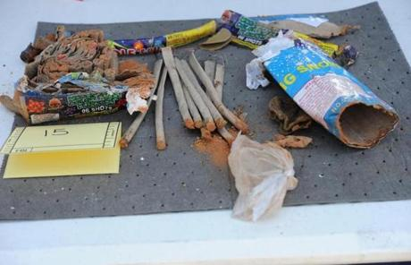 This May 1, 2013 FBI handout image released in a criminal complaint, shows fireworks tubes found in a backpack that was allegedly disposed of by friends of Boston Marathon bomber Dzhokhar Tsarnaev.