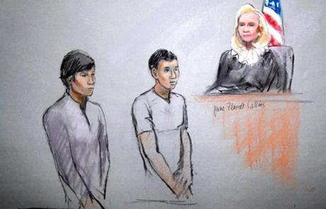 A courtroom sketch shows Dias Kadyrbayev, left, and Azamat Tazhayakov appearing in front of Federal Magistrate Marianne Bowler in Boston.