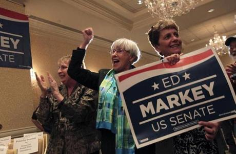 Boston, MA - 4/30/13 - l-r Linda Broadford (cq), Judy Kendall (cq) and Dawn Piche (cq) cheer after a TV report called the race for Ed Markey for the U.S. Senate primary race at the Omni Parker House in Boston. (Globe staff photo / Bill Greene) section:metro, reporter: need ham, topic: 01senatemarkey