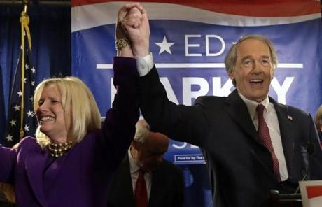 Democratic US Senate candidate Edward Markey and his wife, Susan Blumenthal, celebrated after Markey won the Democratic primary for the open US Senate seat.