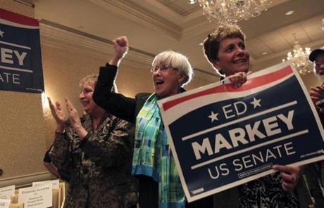 From left: Linda Broadford, Judy Kendall, and Dawn Piche cheered after the race was called for Edward Markey.