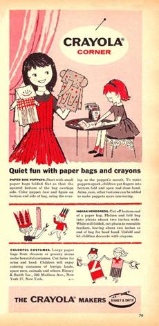 "1958 Crayola ad with directions for ""quiet fun with paper bags and crayons"""