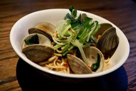 Boston, MA -- 05/01/13 -- The noodle dish Garlic-Sake Clams with Udon Noodles is served at Blue Dragon, Ming Tsai's new restaurant in Boston, Massachusetts. (Kayana Szymczak for the Boston Globe)