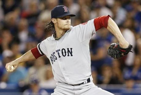 Clay Buchholz pitched seven shutout innings against the Blue Jays, giving up two hits and three walks while striking out eight.