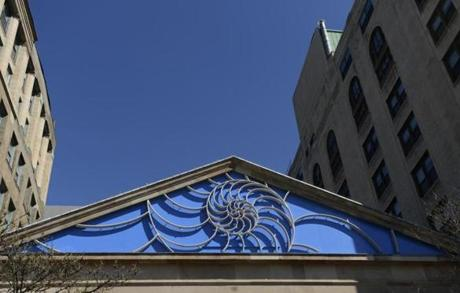 The pediment's new look at The Cathedral Church of St. Paul on May 3.