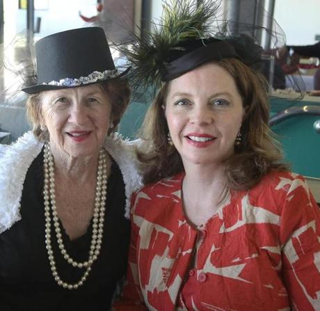 5-4-2013 East Boston, Mass. Members of the Sitzundjibers Meetup Group and other guests enjoy he 139th Kentucky Derby Party at Suffolk Downs in East Boston. L. to R. are Rowena Palmer of Waltham and her daughter Linda Griffin of Waltham. Globe photo by Bill Brett