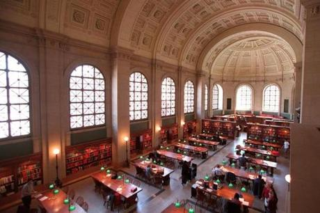 The Bates Hall Reading Room in the McKim building, which Alex Beam considers