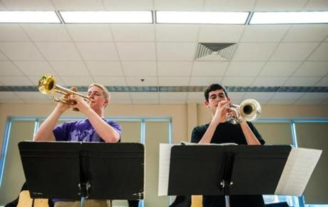 Lexington's Justin Foelix (left) and Daniel Katz rehearsed.