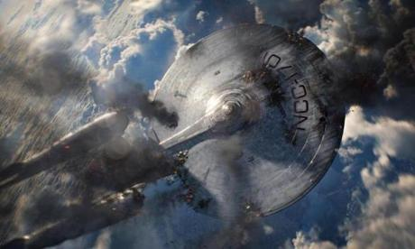 The Enterprise suffers heavy damage in one of the many action scenes in the film.