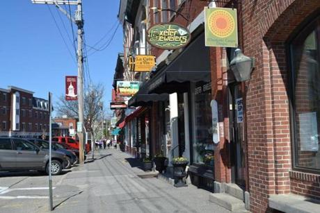 The main streets in historic downtown Exeter are lined with local artisan shops and boutiques.