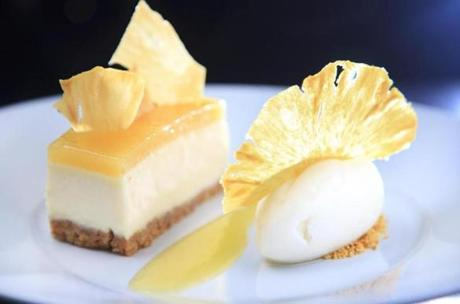 Pineapple gelée cheesecake.