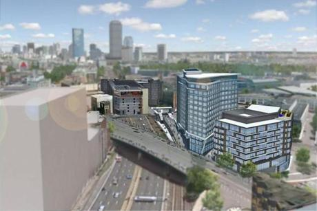 A view of the east side of Fenway Center, minus the 27- story tower that would be part of Phase 2.
