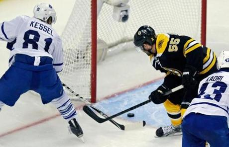 Phil Kessel found the net in the third period past Bruins defenseman Johnny Boychuk.
