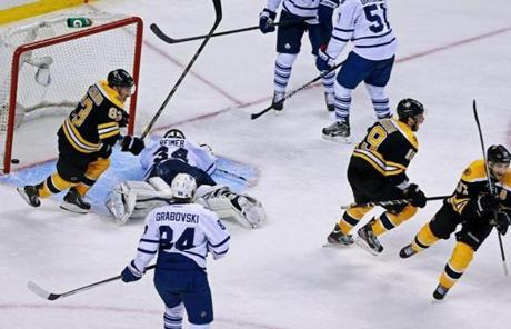 With the game-winning puck in the net, Brad Marchand, Tyler Seguin, and Patrice Bergeron began to celebrate.
