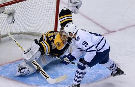 Rask made a stick save against Joffrey Lupul in the first period.