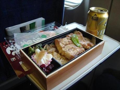 A bento box of pork belly alongside a Yebisu beer on our train ride from Tokyo to Kanazawa.