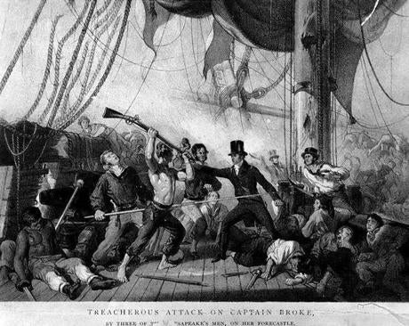 "Engraving: ""Treacherous Attack on Captain Broke by Three of the Chesapeake's Men."""