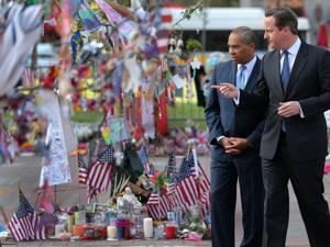Britain's prime minister, David Cameron, visited the Marathon bomb memorial in Copley Square with Governor Deval Patrick. Later, he visited MIT and talked with students.