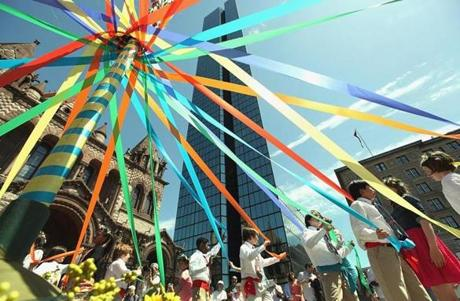 MERRY MAYFEST: Students from The Learning Project school in Back Bay wrapped a maypole in Copley Square on May 16. . . . SEE YOURSELF ON THIS PAGE. E-mail party and event photos to outandabout@globe.com.