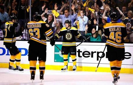 But rookie Torey Krug, center, scored the tying goal to send the game to overtime.