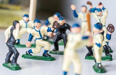 Hall's favorite baseball figurines.