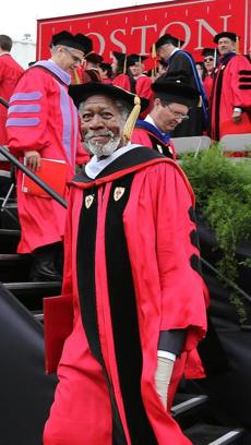 STAR STUDENT: Actor Morgan Freeman received an honorary degree at Boston University's graduation ceremony on Nickerson Field in Boston on May 19.
