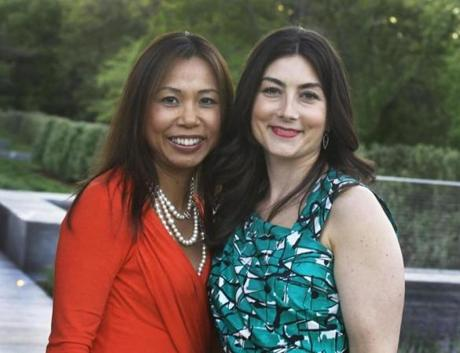 HOUSE HAPPY: Judy Chin of Westwood and Annette Goubeaux of Boston at Boys & Girls Clubs of Boston's annual House Party in Chestnut Hill on May 17.
