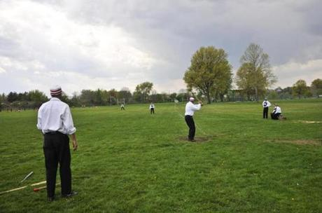 "In Easton, Connecticut, a demonstration of ""base ball"" as it was originally played."