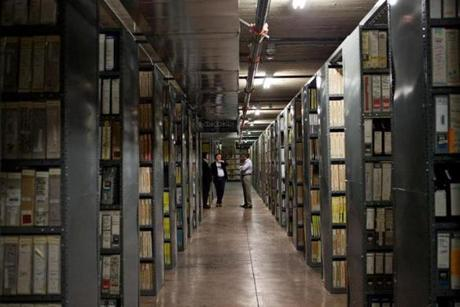 Part of the massive storage area at Iron Mountain's 14-story building in Hollywood, Calif., where Elvis, the Beach Boys, and the Beatles share space.