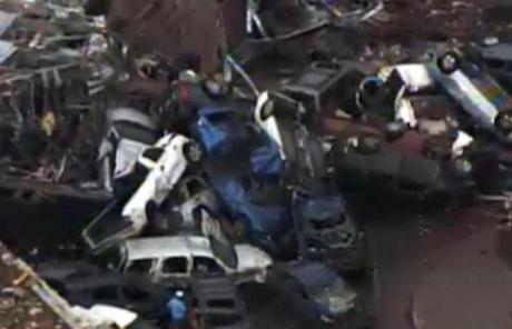 An image shows a vehicle pile-up outside Moore, Okla.