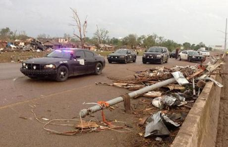 Law enforcement officers arrived in Moore.