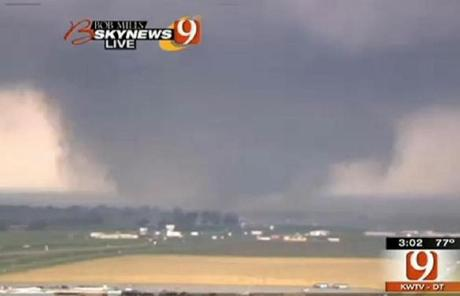 An image from television shows a tornado in the Oklahoma City area on Monday.