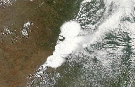 The storm system that generated a deadly tornado in Moore, Okla., is seen in a satellite image.