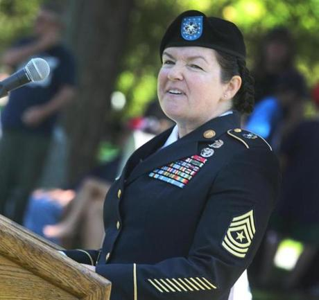 5-27-2013 Dorchester, Mass. Several hundred guests attened Welcome Home Veterans Celebration Army Medicine Bringing Value Inspiring Trust held at the Cedar Grove Cemetery in Dorchester, the vent was hosted by V.F.W., American Legion and Amvets Posts. Guest speaker Dorchester born Retied Army Sgt. Major KellyAnn O'Neil. Globe photo by Bill Brett
